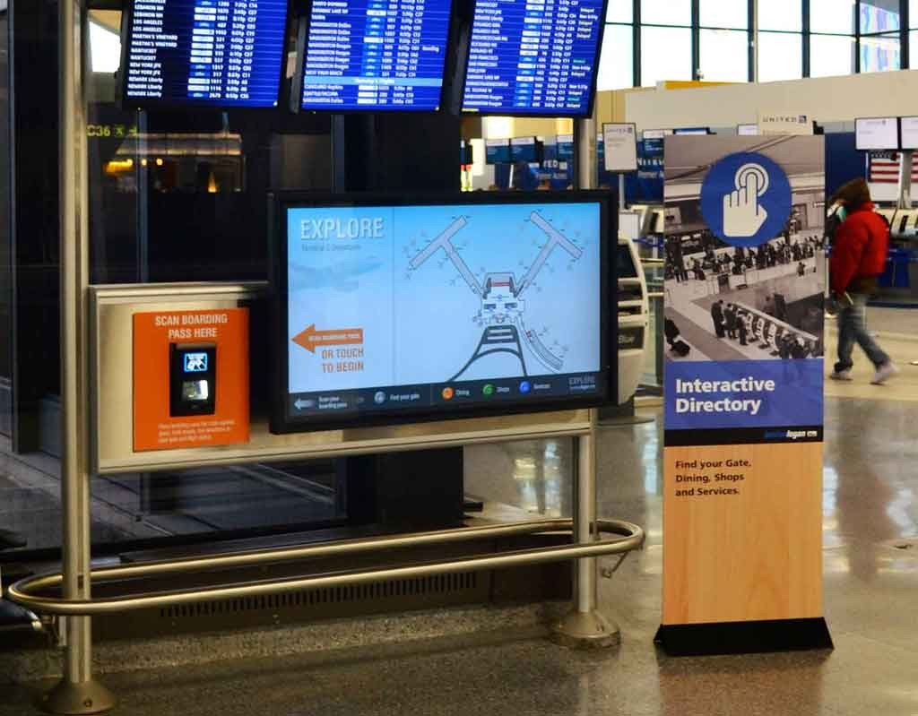 Interactive wayfinder with boarding pass scanner at Boston Logan Airport