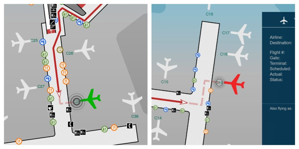 Screen showing a green plane (on time flight) and a red plane (cancelled flight).